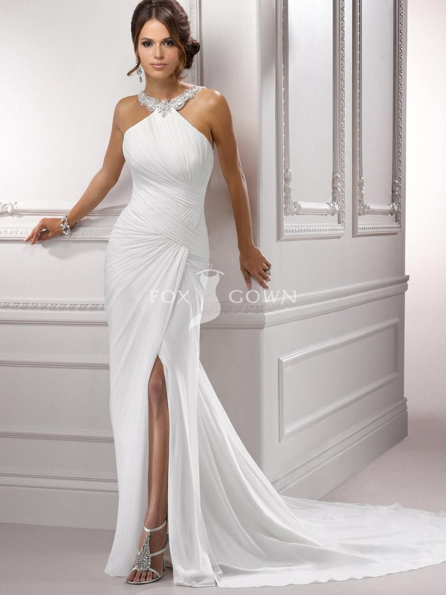 Chiffon pleated bodice halter wedding gown with sexy side slit
