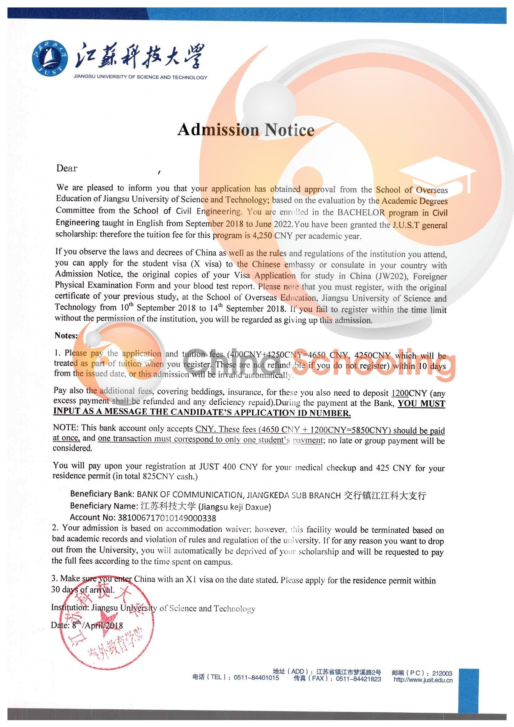 Jiangsu University Of Science And Technology 2018 Admission Letter Until Now We Enrolled Around International Students University Admissions Bachelor Program