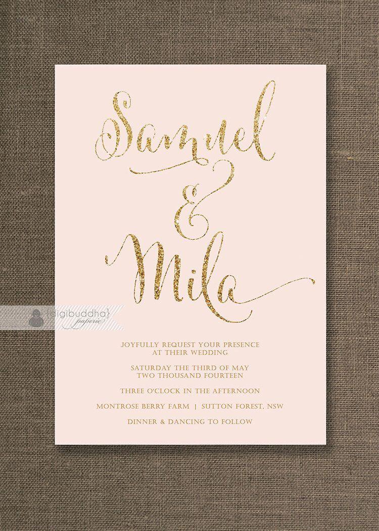 Blush pink gold wedding invitation gold glitter modern script names classic glam free priority