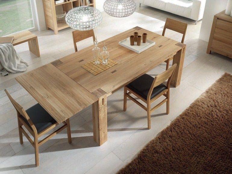 Tavolo allungabile rettangolare in legno massello STORIA | Tavolo ...