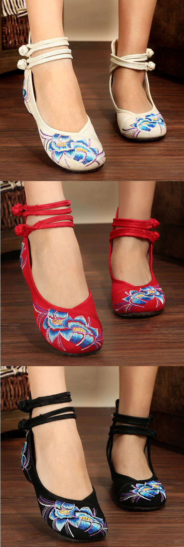 US$14.12 Embroidery Folk Style Flower Shoes_Chinese Style Flats For Women