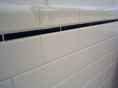 The Bathroom Is Almost Totally Finished Really Tile Bathroom Subway Tiles Bathroom Bullnose Tile