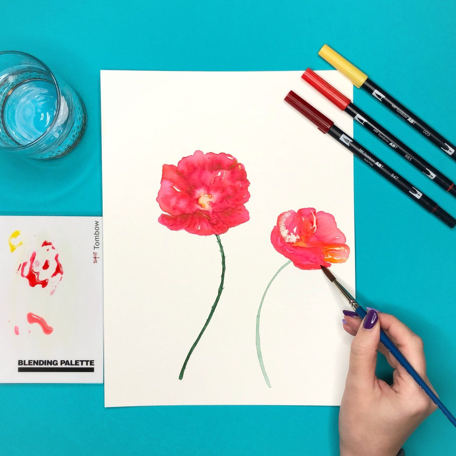 How To Create Watercolor Flowers With Markers Aquarell Stifte