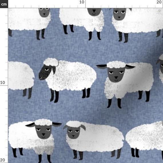 Knitting Fabric - Sheep // Farm Animal Cute Sheep Wool Knitting By Andrea Lauren - Sheep Blue Cotton
