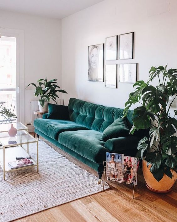 Samt ist der große Interior Trend des Jahres! #wohnzimmerIdeen - wohnzimmer ideen petrol