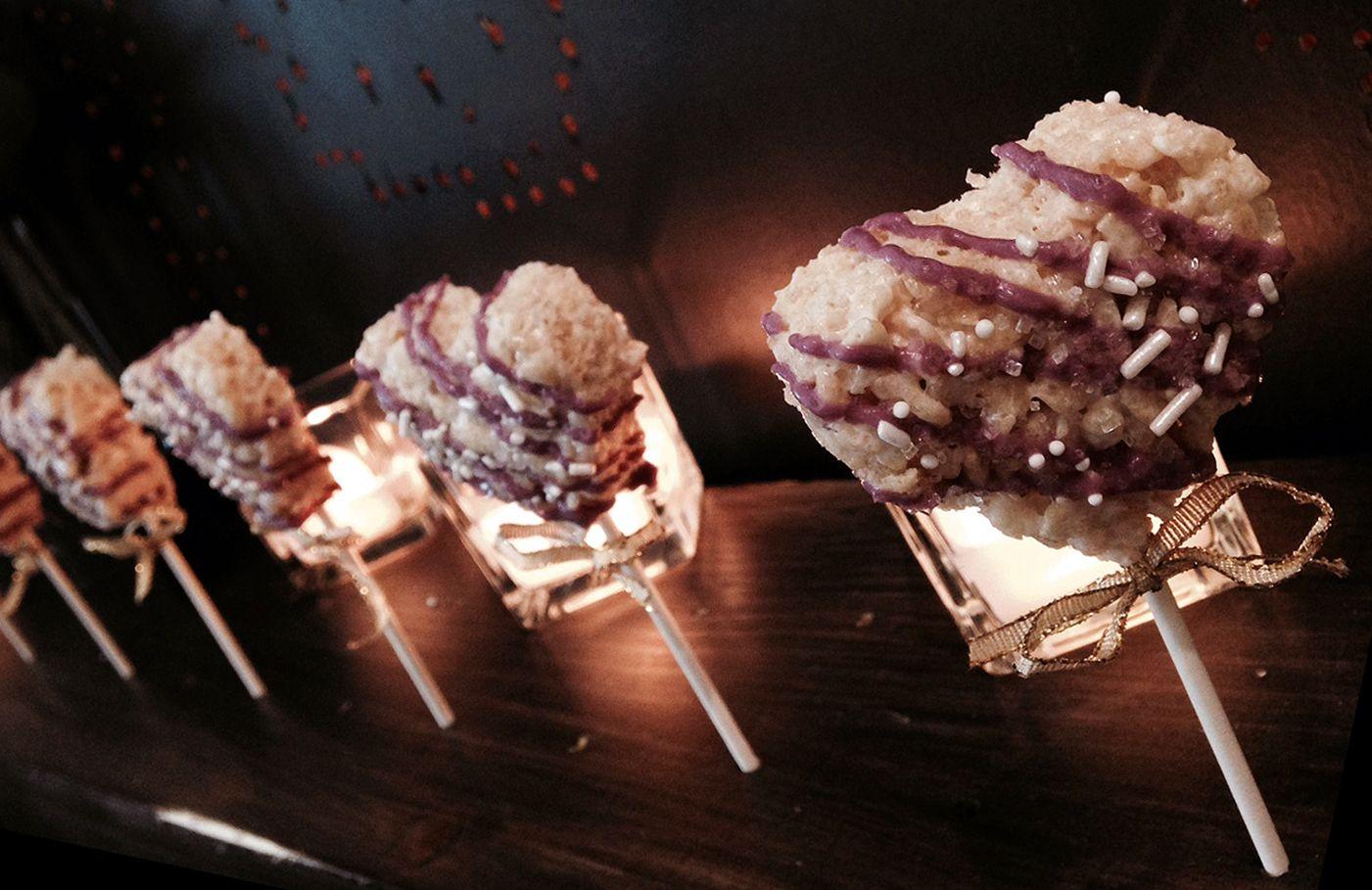 More fun Mini Sweets - Mini heart Rice Krispies on a stick ...