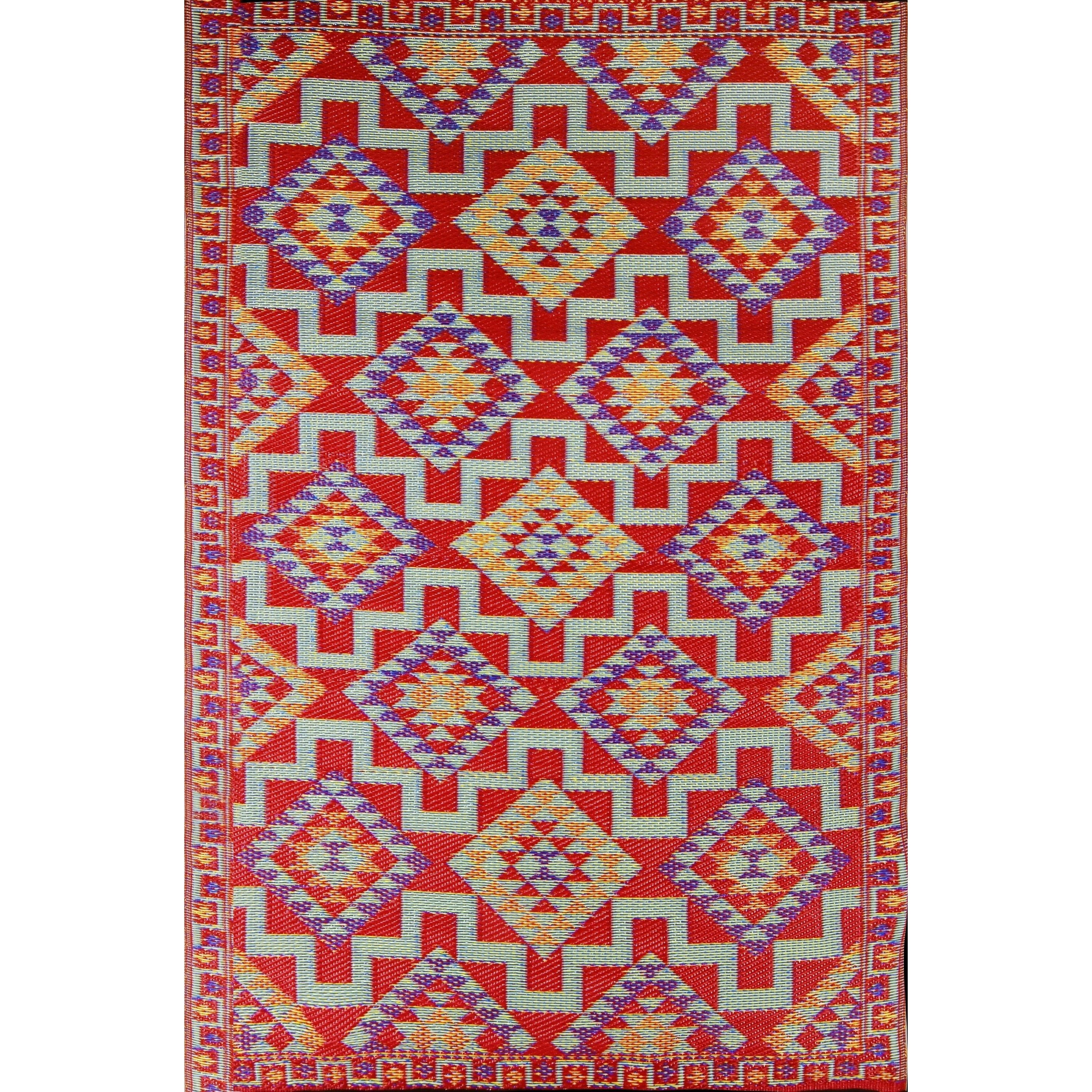 Red Kilim Indoor Outdoor Reversible Southwestern Area Rug 6 X 9