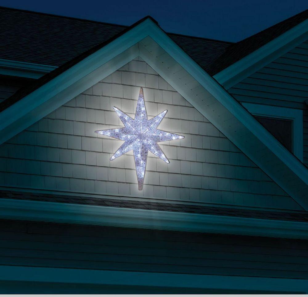 Christmas 4 Led Lighted Star Of Bethlehem Outdoor Hanging Prop Decoration