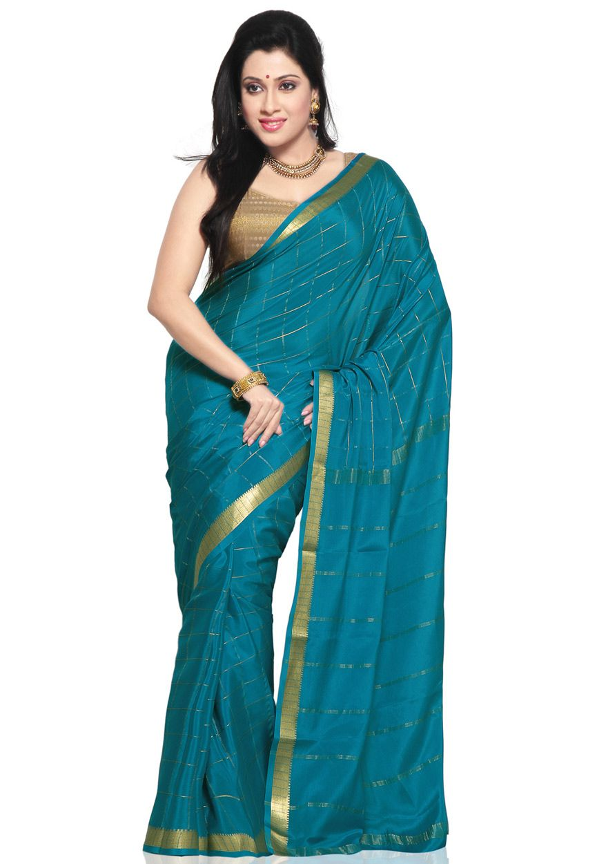 Blue Pure Mysore Silk Traditional South Indian Saree with Blouse Online Shopping: SKL2293