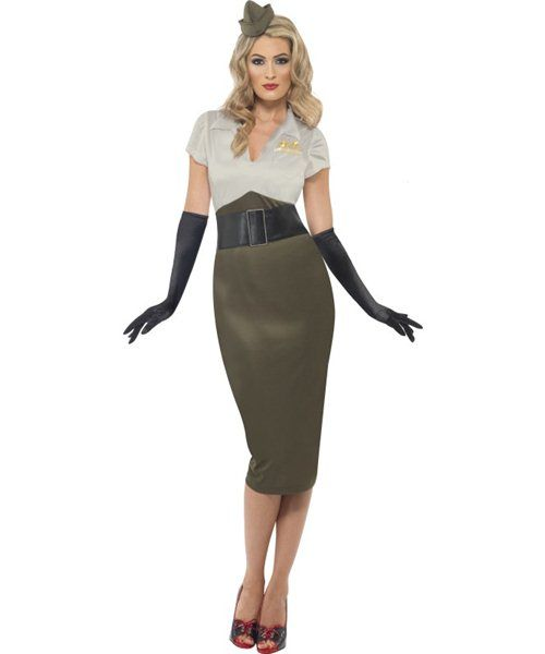 d4137a89 Details about WW2 Army Pin Up Girl Costume Womens Ladies 1940s ...