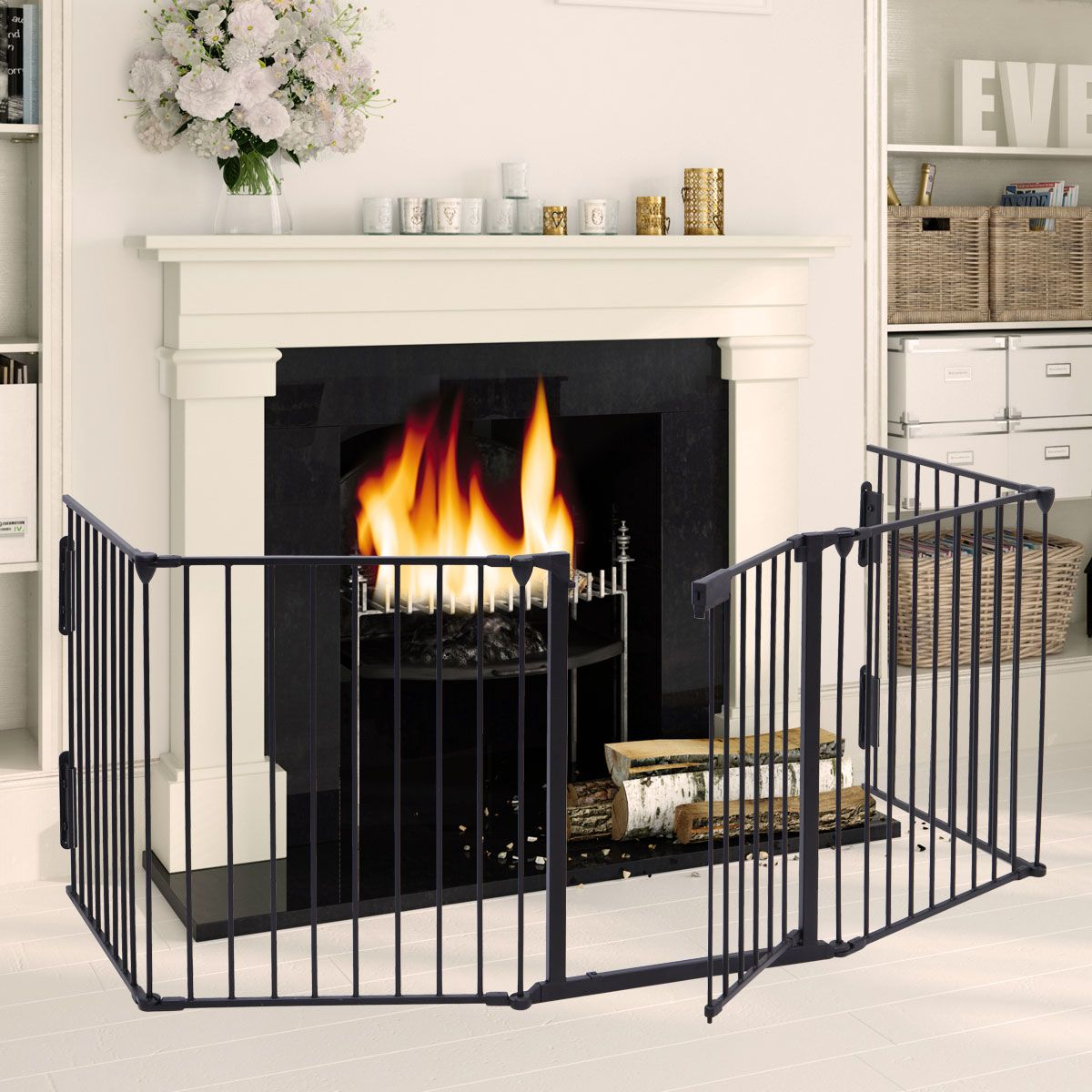 Jaxpety Fireplace Fence Baby Safety Fence 5 Panel Hearth