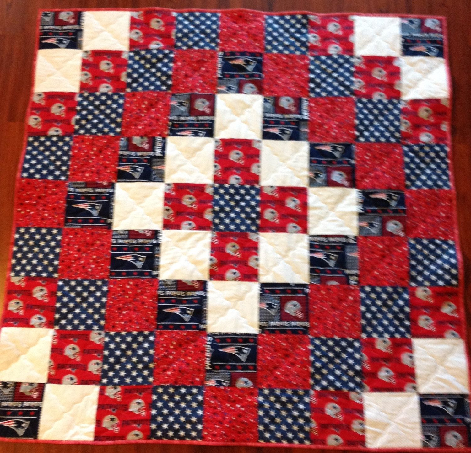 New England Patriots quilt 57x57 and other fabrics Blue white red stars