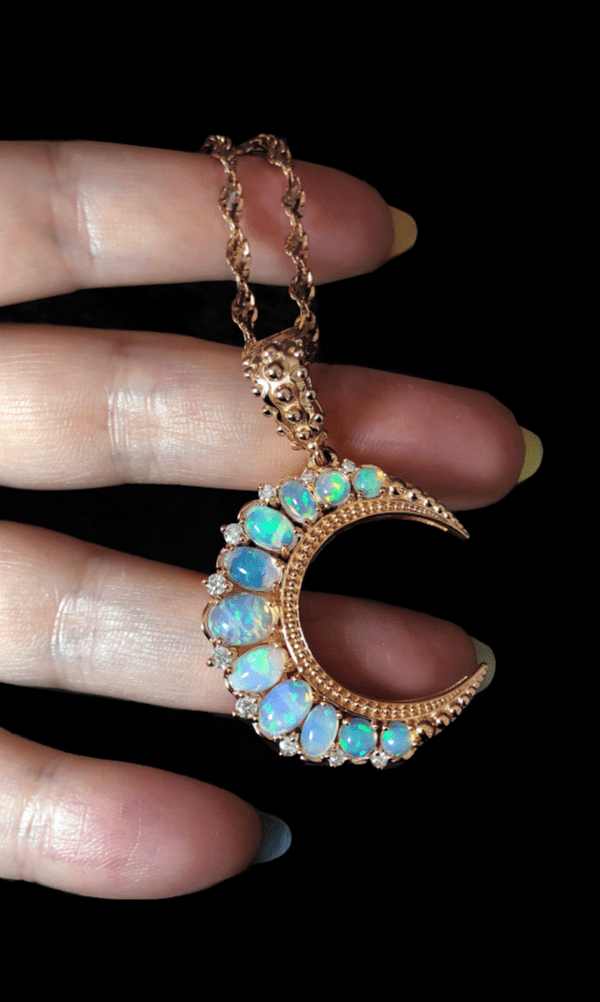 3 Colours Handmade Rose Gold Flower Style Opal Effect Pendant Chain Necklace