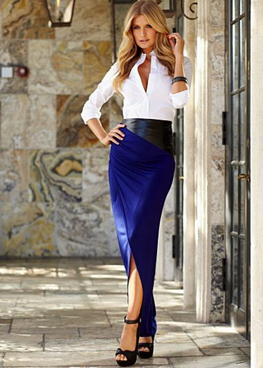 c2103611ee68 long electric blue pencil skirt w tailored shirt & bad ass black leather  belt.