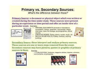 Primary Versus Secondary Sources Lesson Idea Secondary Source, Primary  And Secondary Sources, Primary Sources