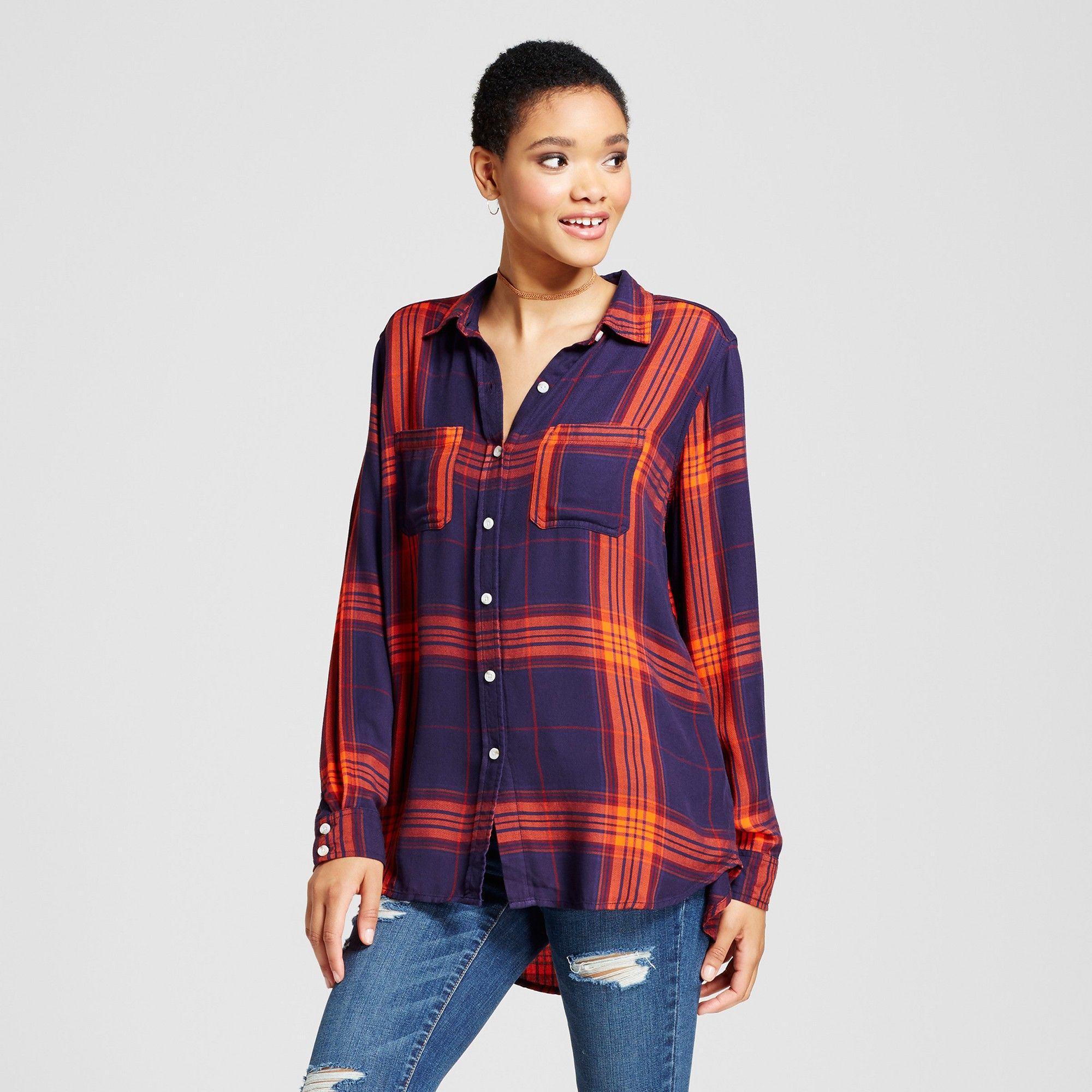 fdf24a109 Women's Plaid Boyfriend Button Down Shirt - Mossimo Supply Co. Blue Xxl