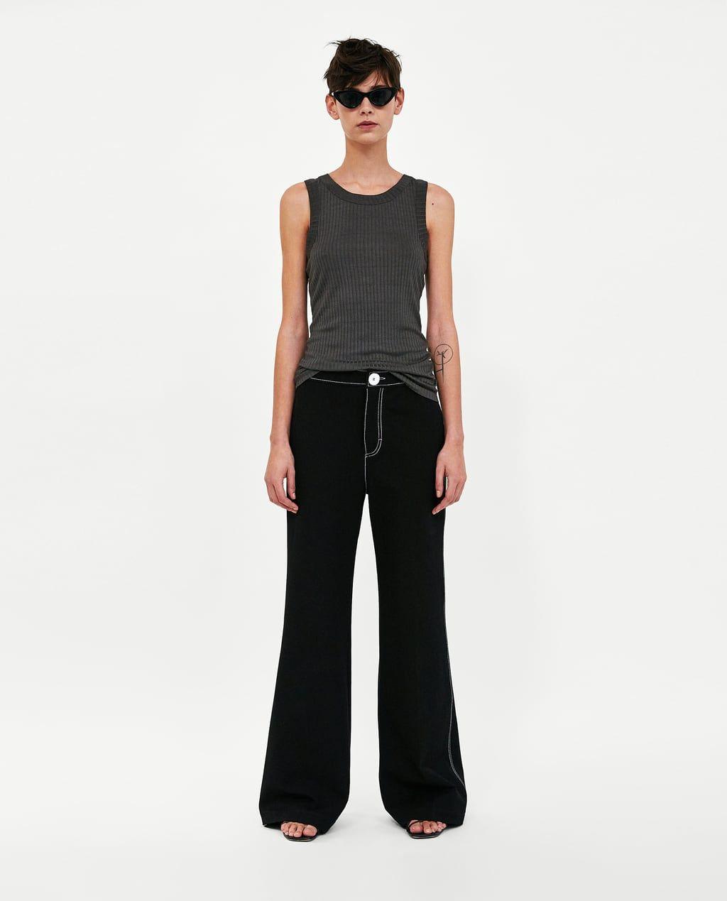 a9165d6d Image 1 of RIBBED TANK TOP from Zara Zara Women, Mock Neck, Tank Tops