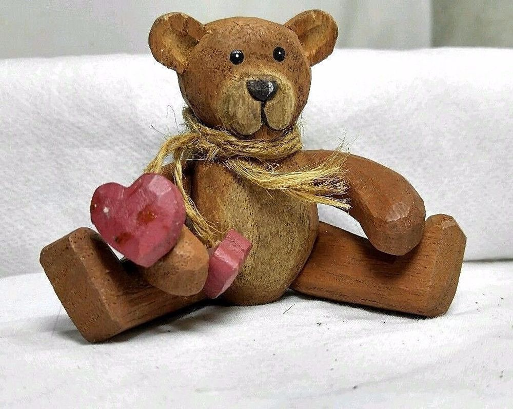 4 Vintage Hand Carved Wood Posable Jointed Miniature Teddy Bear