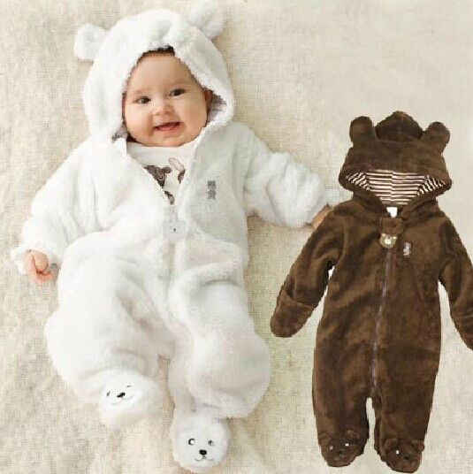 2243f863c Autumn Winter Baby Rompers Bear style baby coral fleece brand ...