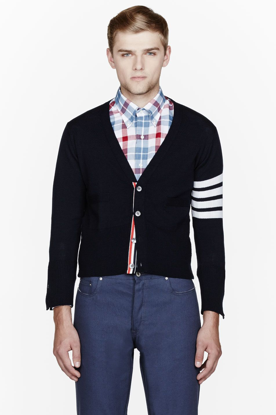 THOM BROWNE Navy striped-sleeve classic cardigan | Him | Pinterest ...