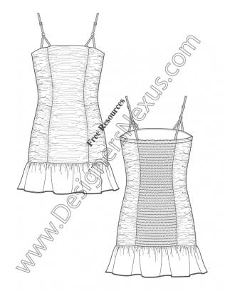 016 Illustrator Fashion Flat Sketch Ruched Tube Dress Ruffle Hem Back Smocking Free Download And More Flat Fa Flat Sketches Fashion Drawing Fashion Sketches