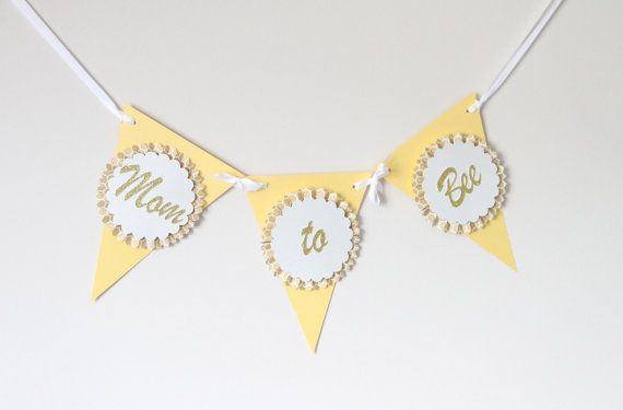 Mom to Bee Rosette Baby Shower Banner gold by TopperAndTwine, $12.00