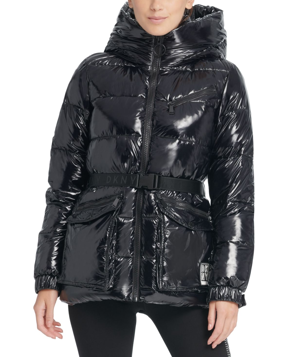 Dkny Sport Belted Hooded Puffer Jacket Black Blazer