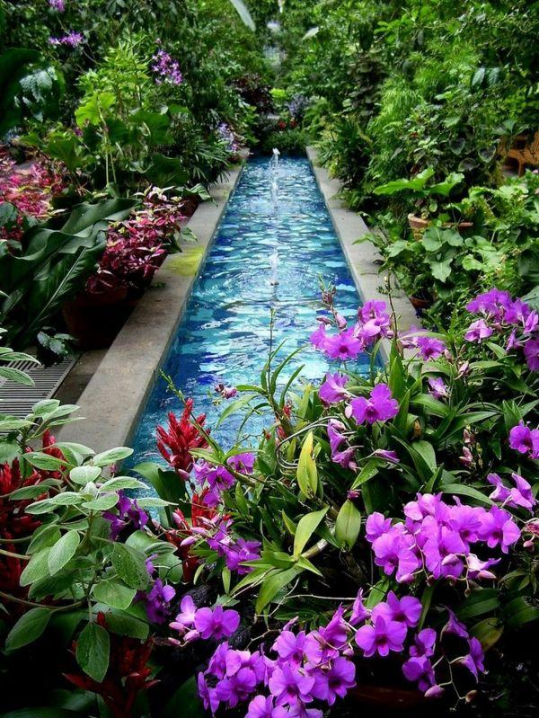 D coration de jardin avec une fontaine pour bassin - Comment creer une fontaine de jardin ...