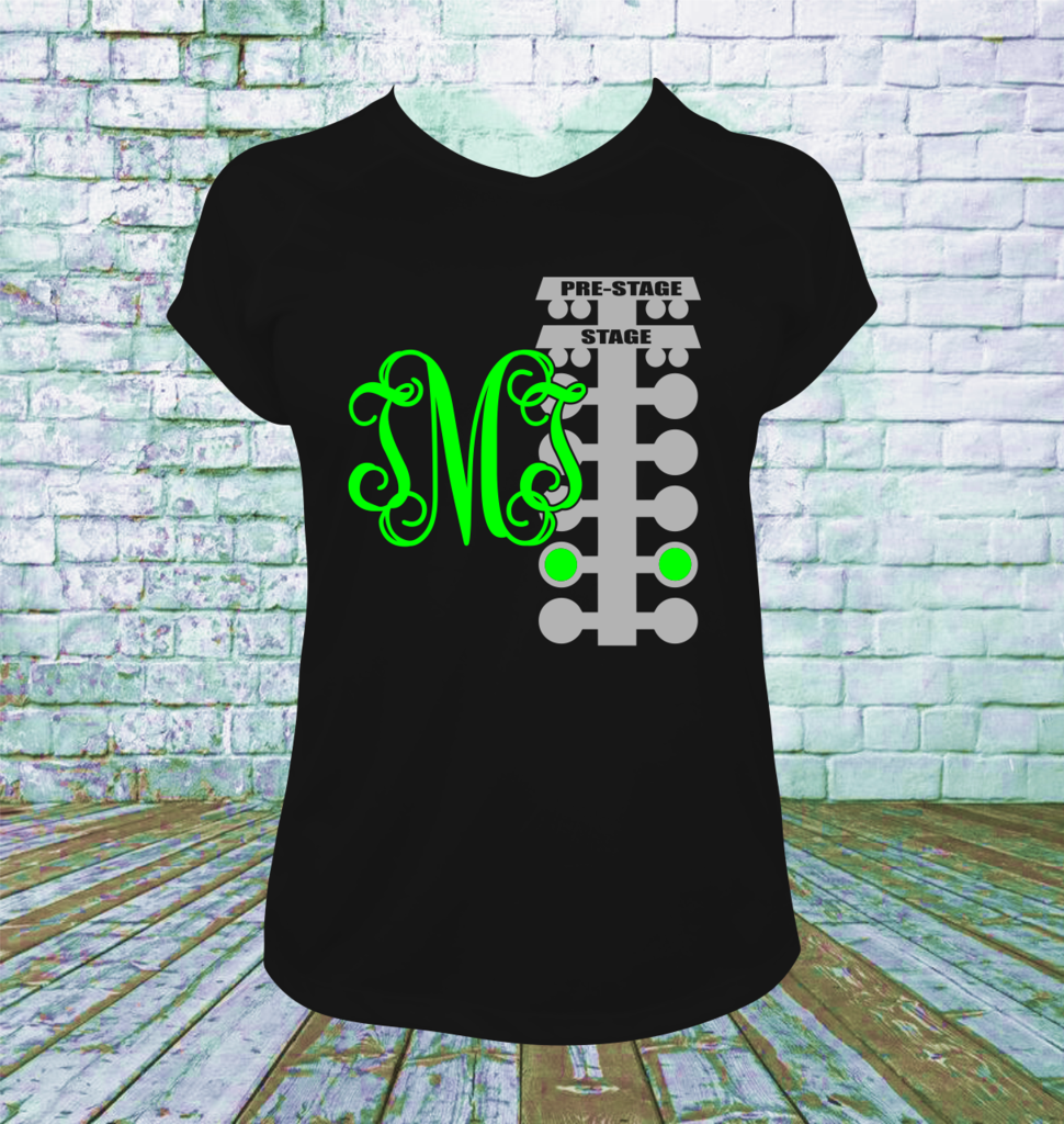 d853598c Personalized Drag Racing Tree with Monogram T Shirt. You choose your  lettering and shirt colors. Picture shown is White Main Lettering and 2nd  color ...