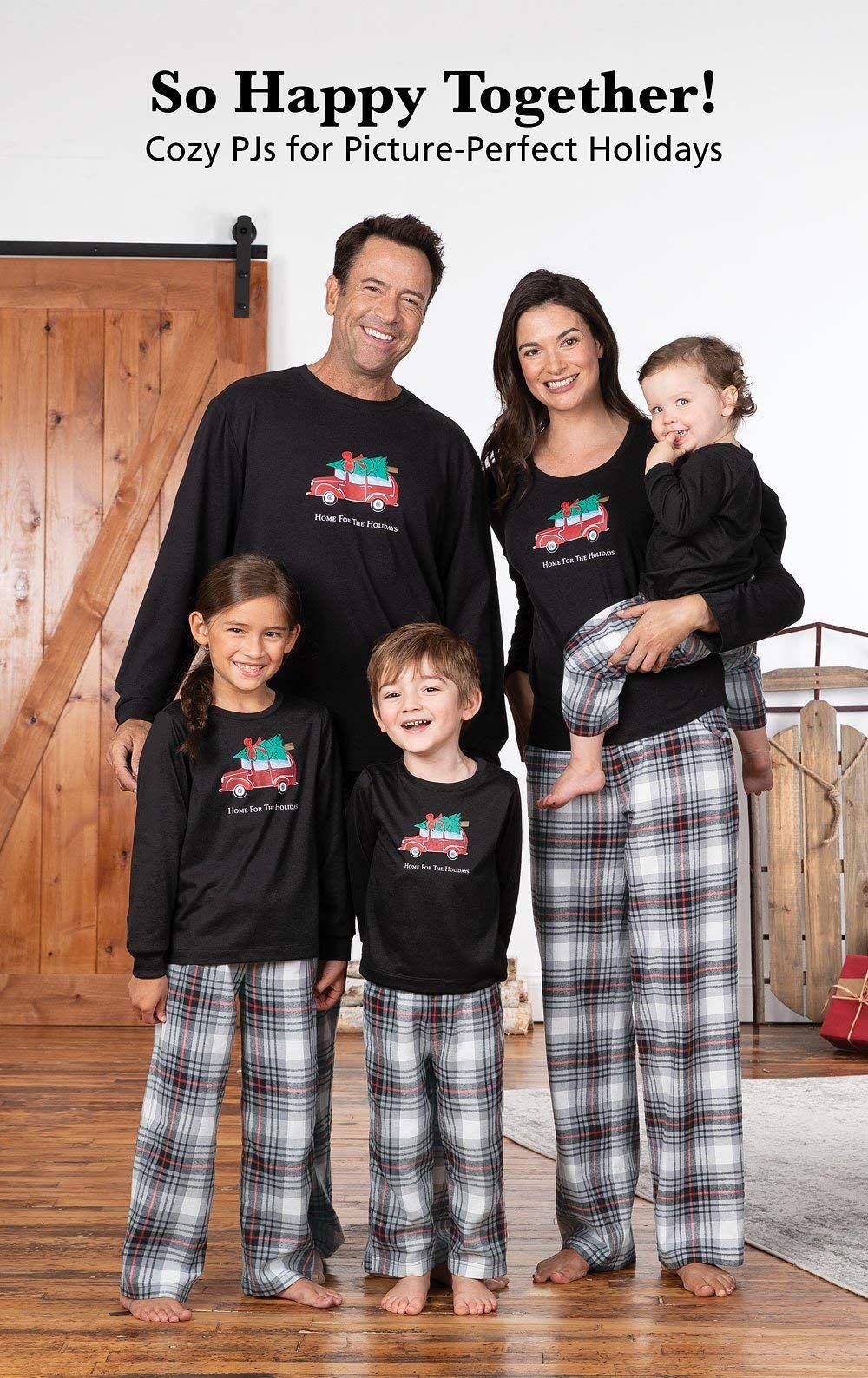 PajamaGram Cute Christmas Family Pajamas Holiday Plaid Red
