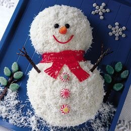 Smiling Snowman Cake. Use box cake mix.Bake in two round pans. Trim one to be smaller. Decorate.