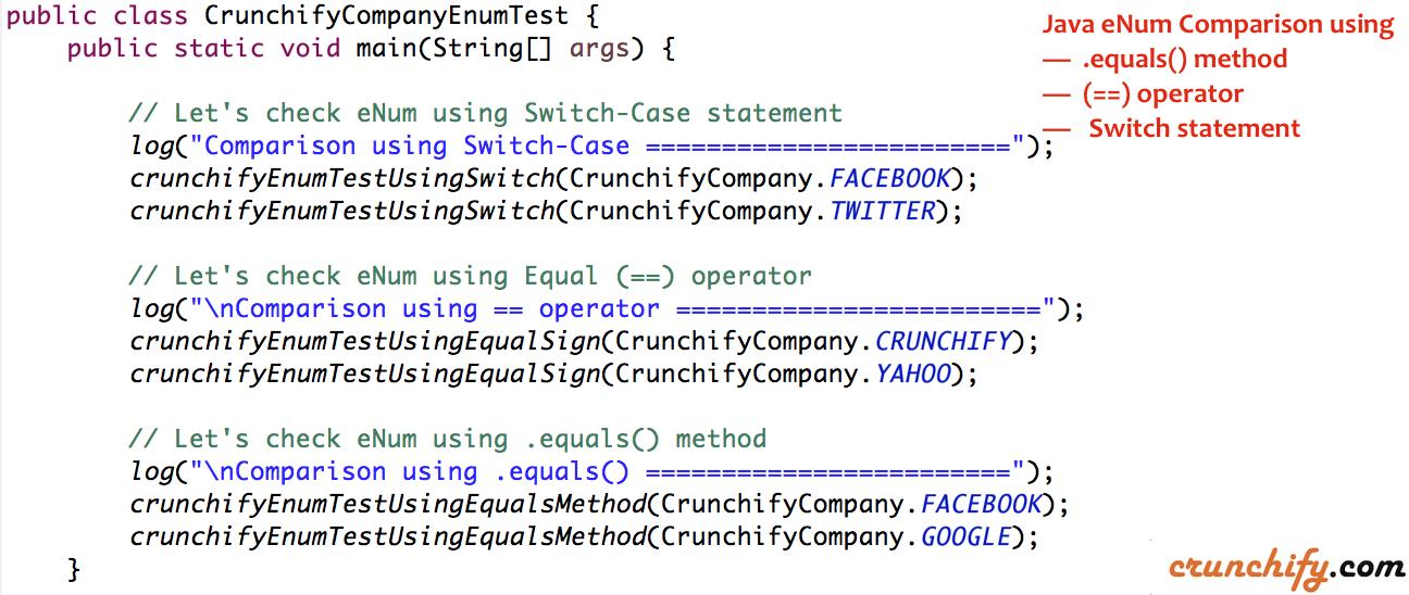 Java eNum Comparison using Equals (==) operator, Switch-Case