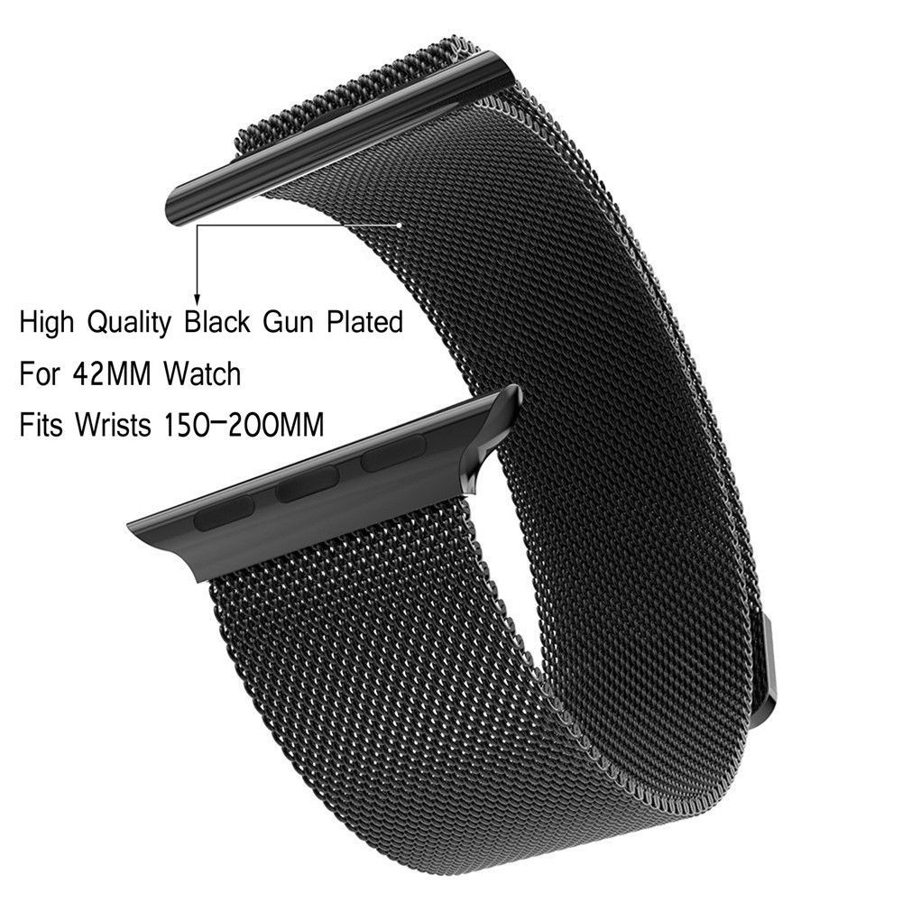 Milanese Loop Watchbands Stainless Steel Band For Apple Watch Iwatch Link Bracelet Strap Black Zinc