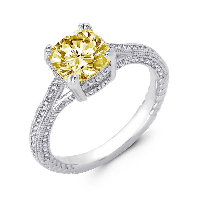Sterling silver bonded with platinum cushion cut lab grown canary wedding ring.  ZR-0237CA