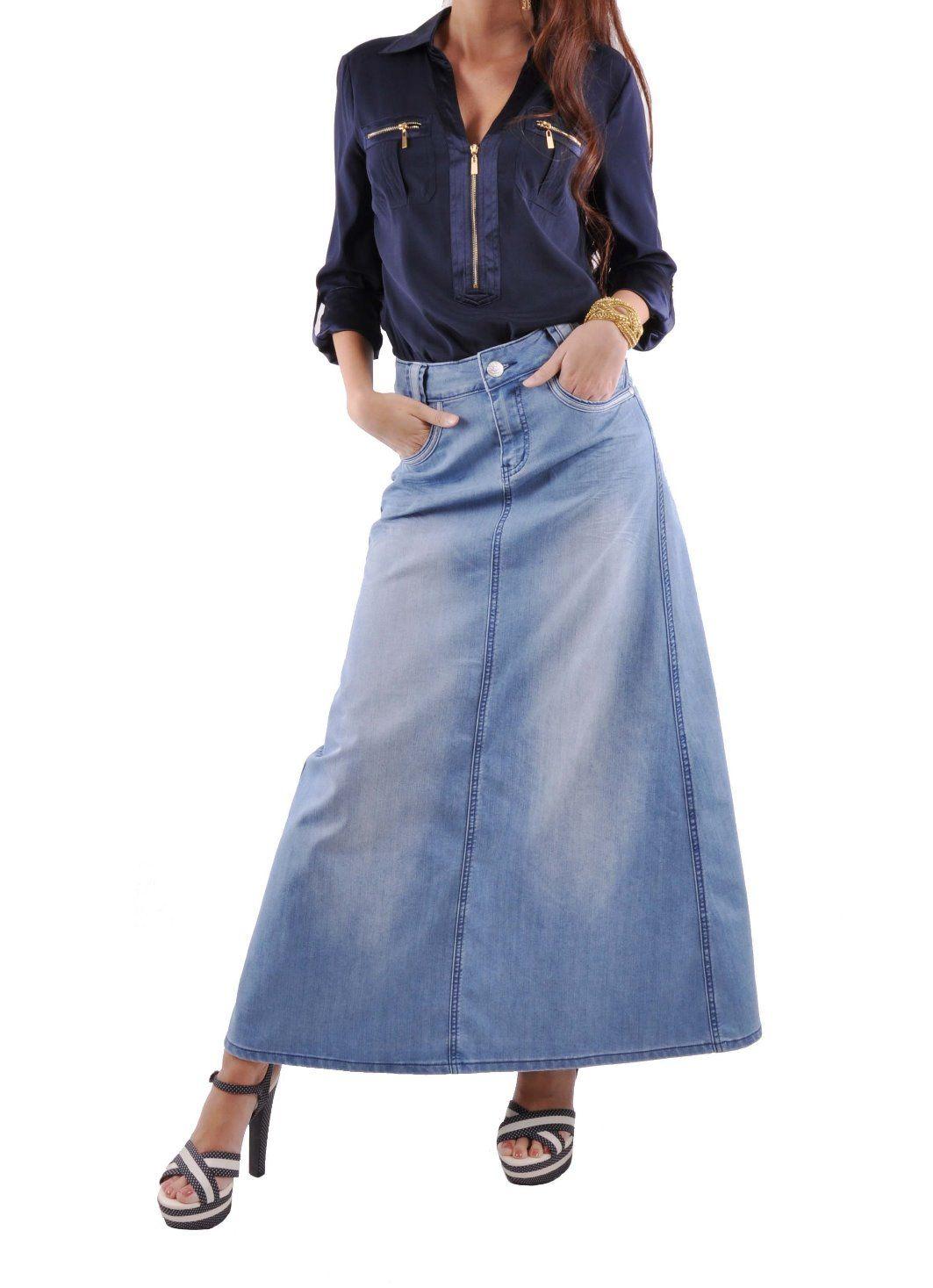 c9be653ed1 Rosie Chic Long Denim Skirt | My Style | Denim skirt, Skirts, Plus size  skirts