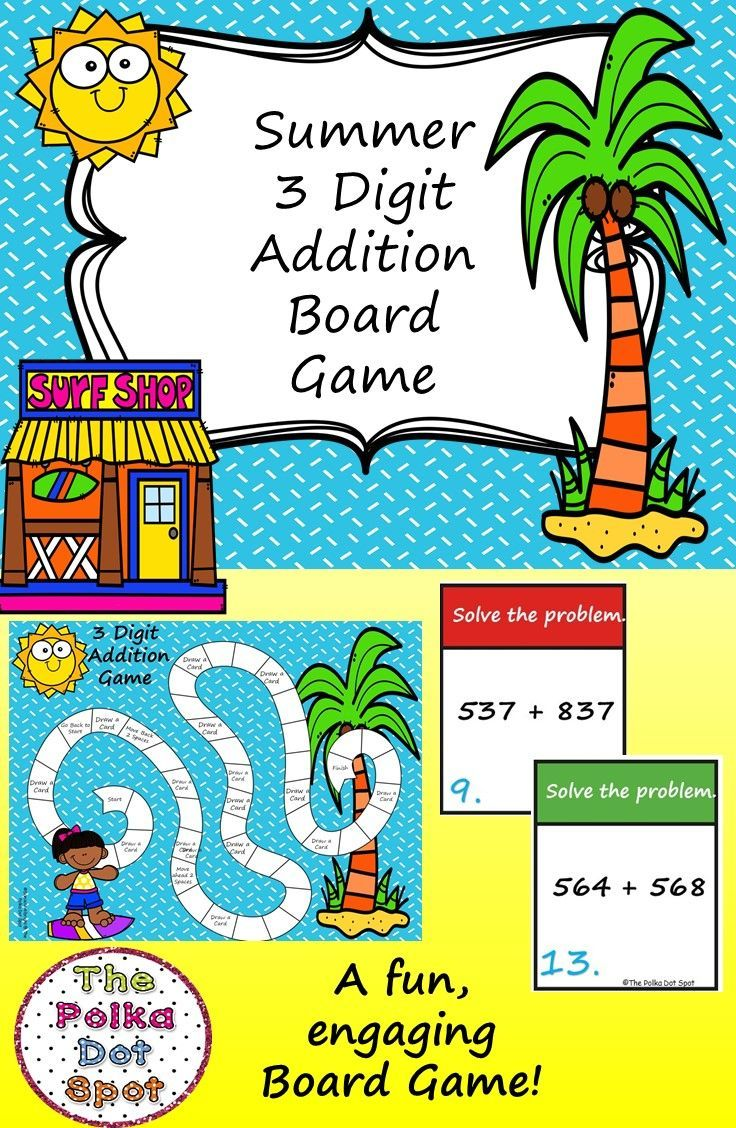 3 Digit Addition Board Game- Summer-Themed | 2nd Grade Centers ...