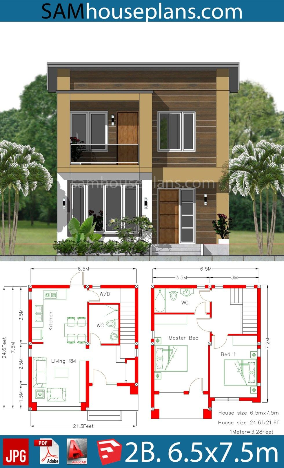 House Plan 6 5x7 5m With 2 Bedrooms A2 Model House Plan Duplex