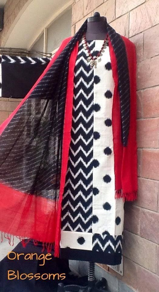 Double ikat stylish kurta teamed with an ikat cotton dupatta. To buy , visit www.facebook.com/orangeblossomwomensclothing