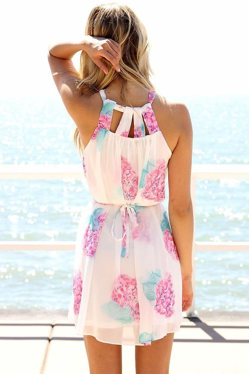 Pink, Blue and White Dress summer!