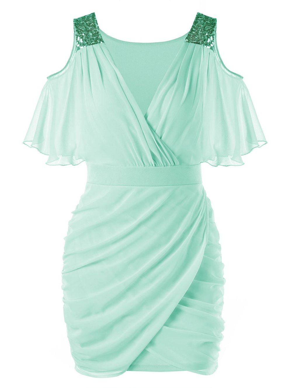 Mint green long dress  Open Shoulder Sequined Chiffon Dress  Reception  Pinterest