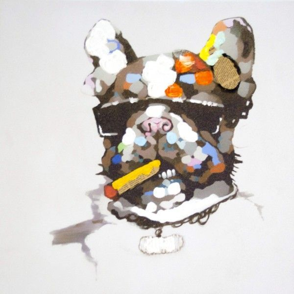 Tableau toile Contemporain Chien cigare  Toile