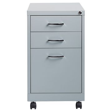 Hirsh Industries® Space Solutions File Cabinet On Wheels, 3 Drawer    Platinum