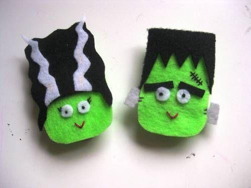 Broche de fieltro friki y original de Señor y Señora Frankenstein para Halloween