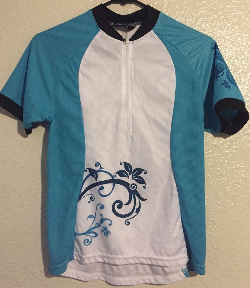 Canari cycling jersey womens blue top medium floral usa