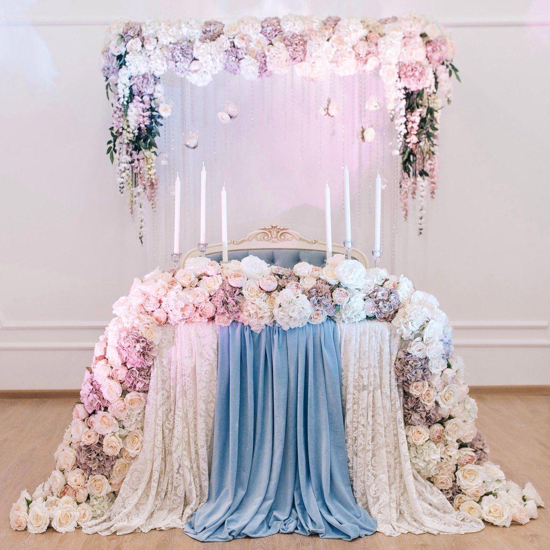Latest wedding stage decoration  Miss Flowery  Магазин текстильных цветов  Стол молодых  Pinterest