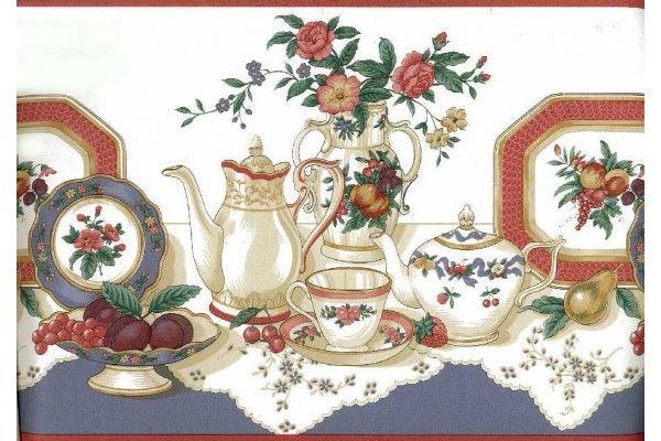 Kitchen Borders Tea Cup Saucer Flower Rose Vase Plate Wallpaper Border Tea Cup Saucer Tea Cups Wallpaper Border