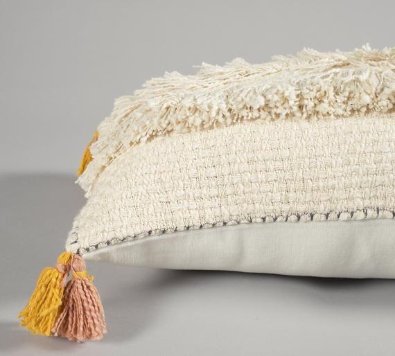 Cream Color Tassel Cotton Pillow Cover, Indian Boho Lumbar Pillow, Moroccan Hippie Pillow Cover, Sof