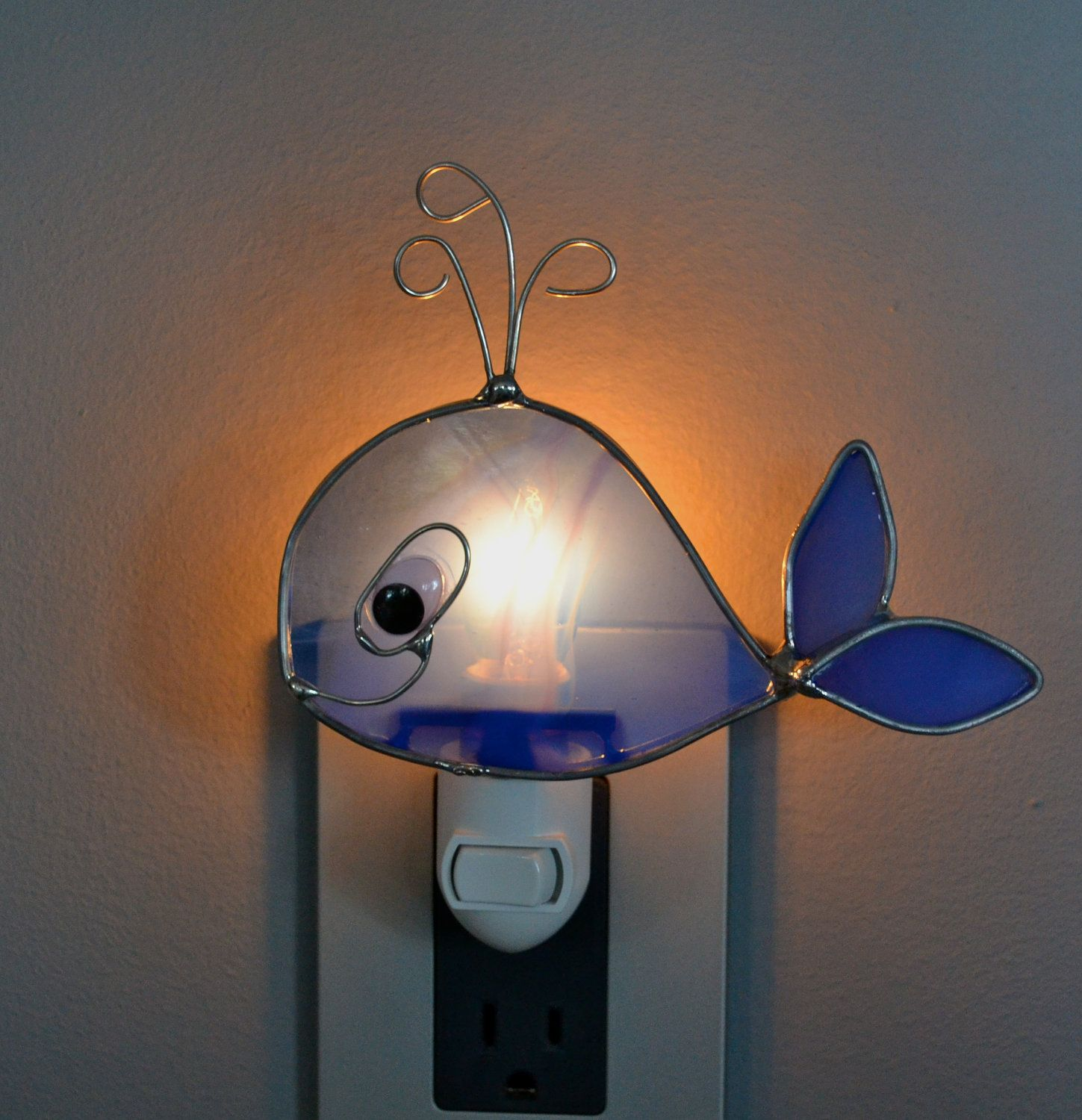Glass Night Lights Baby Blue Whale Stained Glass Nightlight Underwater