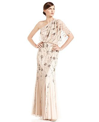 Adrianna Papell Dress Short Sleeve One Shoulder Beaded Blouson Gown