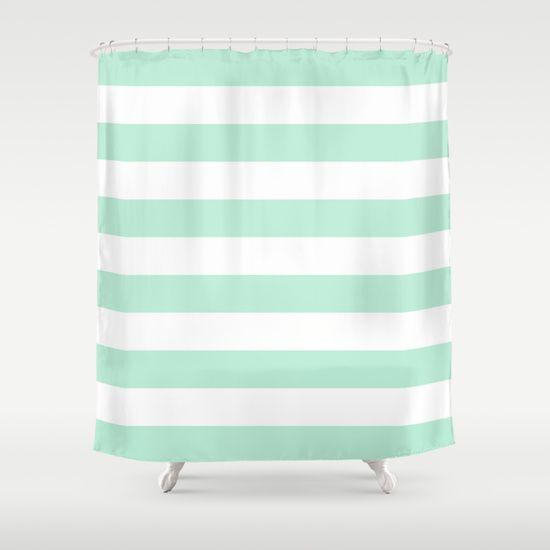 Stripe Horizontal Mint Green Shower Curtain Green Shower